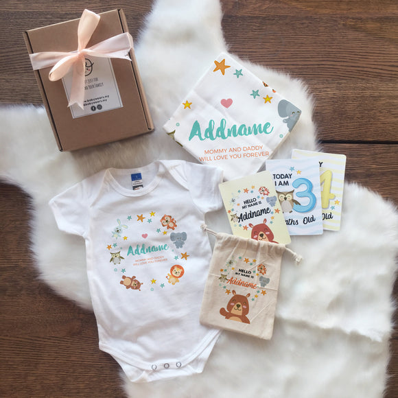 Safari Animals Newborn Gift Set with Personalised Milestone Cards (UNDER RM 100)