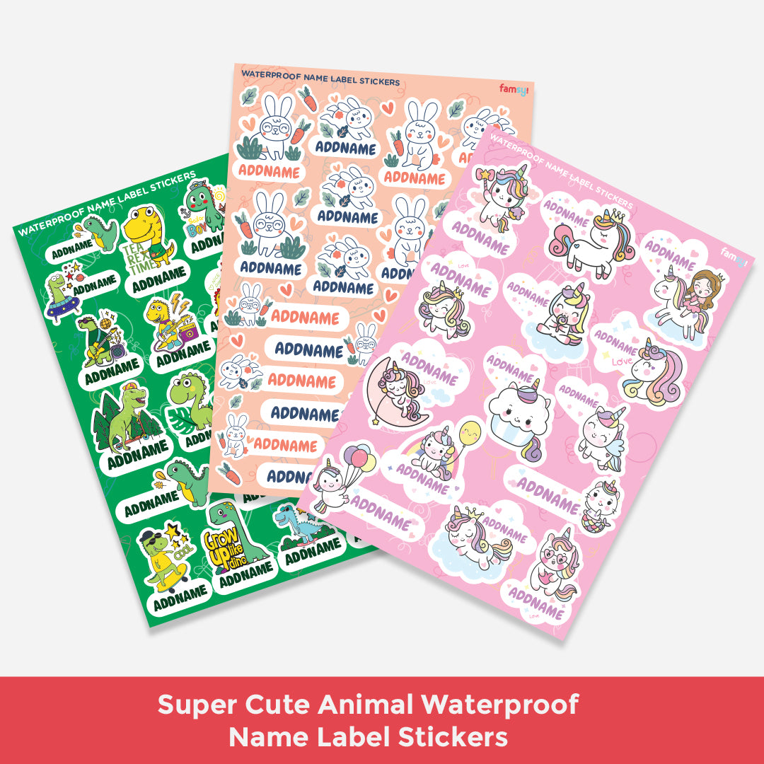 Super Cute Animals Waterproof Name Label Stickers