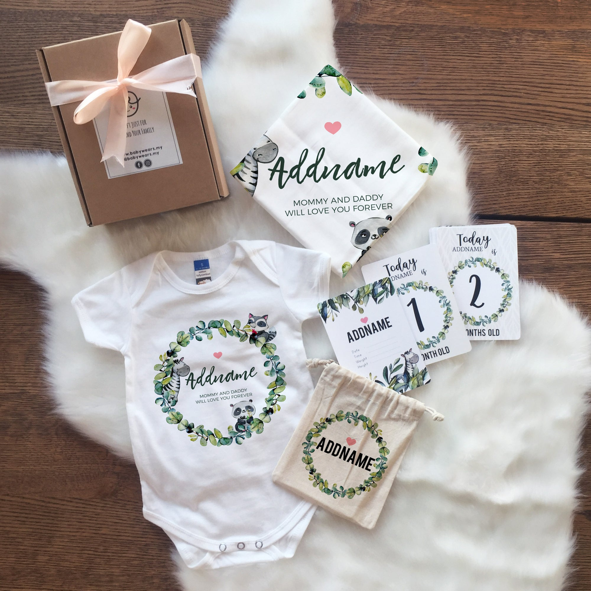 Watercolour Cute Nature and Animal Newborn Gift Set with Personalised Milestone Cards (UNDER RM 100)