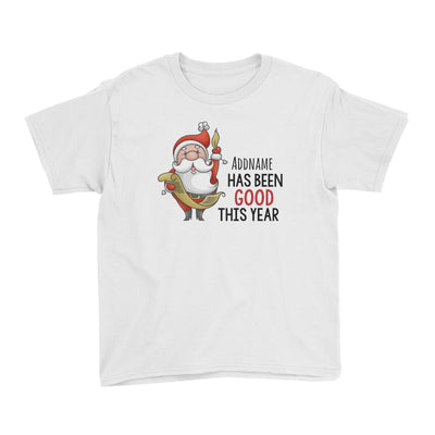 Santa Says Addname Has Been Good This Year Kid's T-Shirt Christmas Matching Family Personalizable Designs Cute