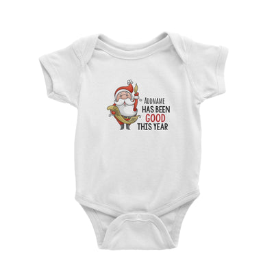 Santa Says Addname Has Been Good This Year Baby Romper Christmas Matching Family Personalizable Designs Cute