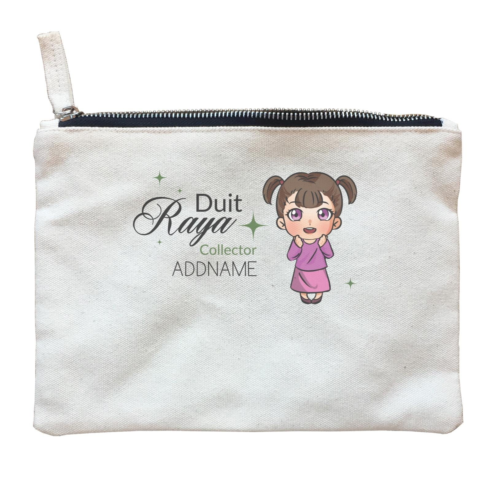 Raya Chibi Little Girl Duit Raya Collector Addname Zipper Pouch