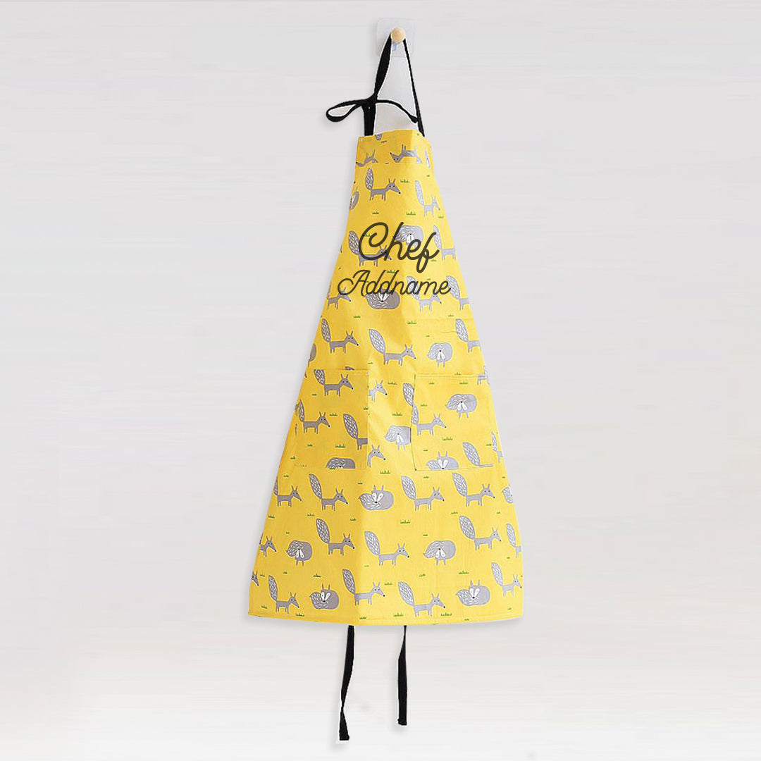 Waterproof Matching Family Cute Yellow Fox Apron Add Name