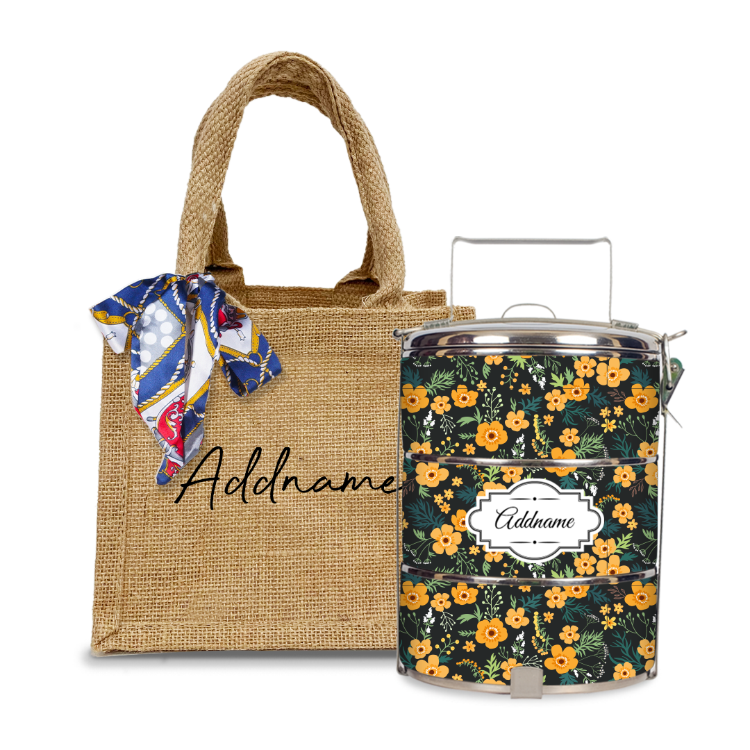 Yellow Windflower Tiffin Carrier Set