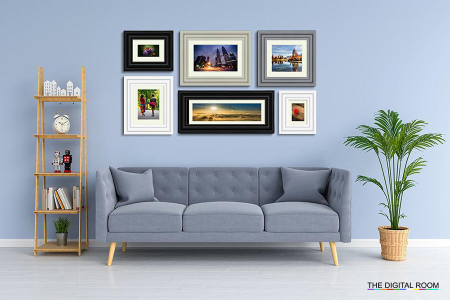 Layered Premium Framed Prints displayed in room preview.