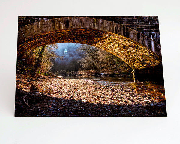 Landscape format Aluminium Dibond - Photo Print of forest bridge