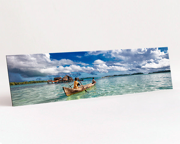 Panoramic format Aluminium Dibond - Photo Print of paddling across a lagoon