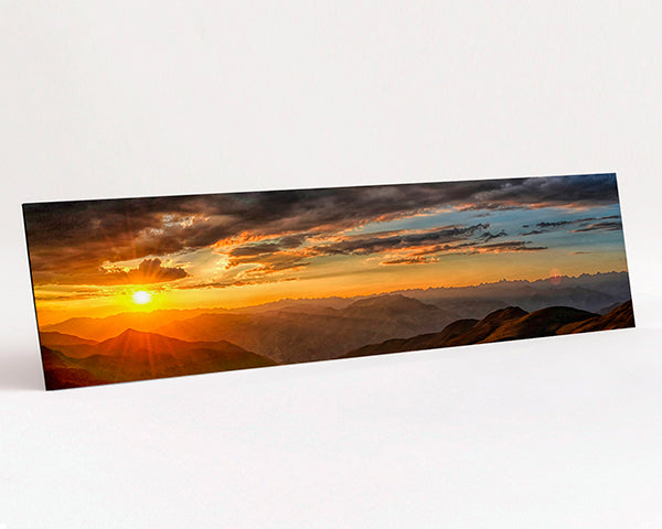 Panoramic format Aluminium Dibond - Photo Print of Mountain Sunset scene