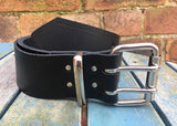 "Black Leather Double Prong Belt. 2"" Wide."