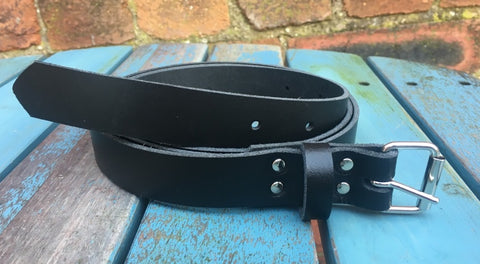 "Black Leather Belt. Available 3/4"" - 2"" wide and with a choice of buckles."