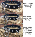 Spiked D & O-ring leather choker