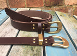 "Leather Belt with 'D' Buckle 1"" Wide. Available in a choice of colours."