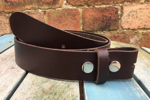 "Dark Brown Leather Press Stud Snap Belt 3/4 - 2"" Wide. Available with a choice of studs & loop."