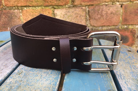 "Dark Brown Leather Double Prong Belt. 2"" Wide."