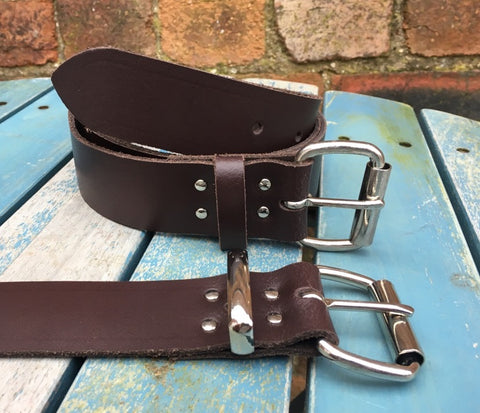 "Dark Brown Leather Belt. Available 3/4"" - 2"" wide and with a choice of buckles."