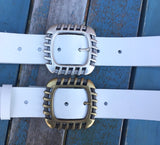 "Leather Belt with 'Euro' buckle 1 1/2"" Wide. Available in a choice of colours."