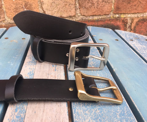 "Leather Belt with 'Metro' buckle 1 1/2"" Wide. Available in a choice of colours."
