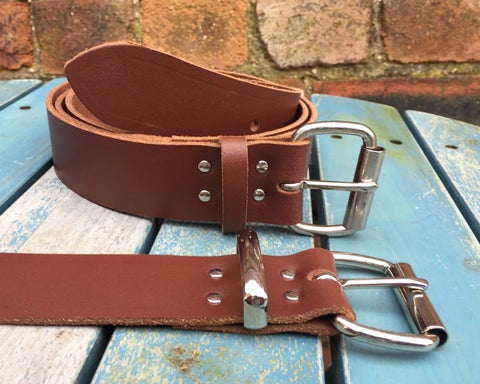 "Mid Brown Leather Belt. Available 3/4"" - 2"" wide and with a choice of buckles."
