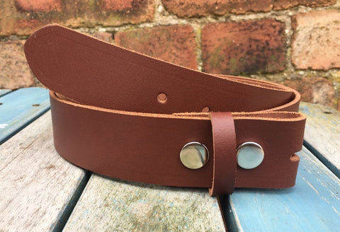 "Mid Brown Leather Press Stud Snap Belt 3/4 - 2"" Wide. Available with a choice of studs & loop."