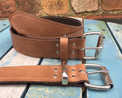 "Milwaukee Chestnut Worn Look Leather Belt. Available 3/4"" - 2"" wide and with a choice of buckles."