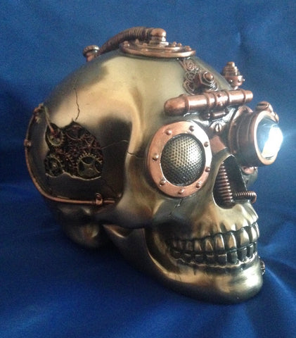 Steampunk Observation Skull Ornament Trinket Box. Veronese Studio Collection