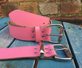 "Pink Leather Belt. Available 3/4"" - 2"" wide and with a choice of buckles."