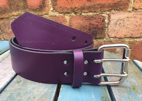 "Purple Leather Double Prong Belt. 2"" Wide."