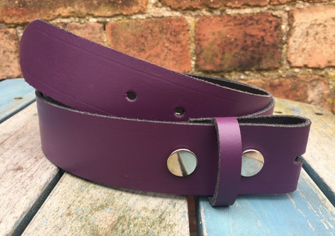 "Purple Leather Press Stud Snap Belt 3/4 - 2"" Wide. Available with a choice of studs & loop."
