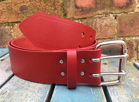 "Red Leather Double Prong Belt. 2"" Wide."