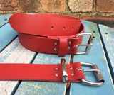 "Red Leather Belt. Available 3/4"" - 2"" wide and with a choice of buckles."