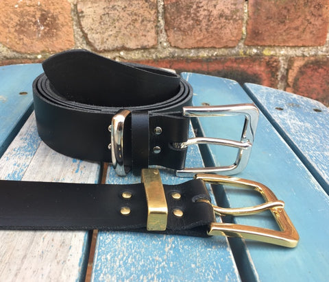 "Leather Belt with 'Rhesi' Buckle 1 1/2"" Wide. Available in a choice of colours."