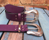 "Leather Belt with 'Span' buckle 1 1/2"" Wide. Available in a choice of colours."
