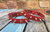 "Leather Spiked Choker 1/2"" or 1"" spikes"