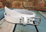 "Leather Belt with 'Square D' Buckle 1"" Wide. Available in a choice of colours."