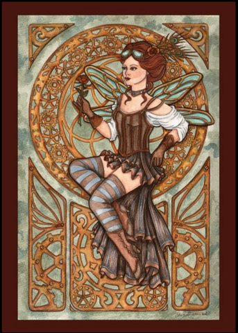 Steampunk Greeting Card Steamfae Fairy by Esther Remmington
