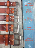 "Veg Tan Leather Belt 3-3.5mm. Available 3/4"" - 2"" wide."