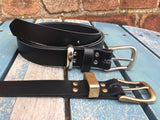 "Leather Belt with 'West End' Buckle 1"" Wide. Available in a choice of colours."