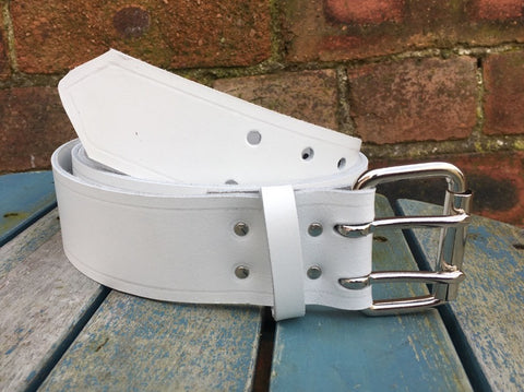"White Leather Double Prong Belt. 2"" Wide."
