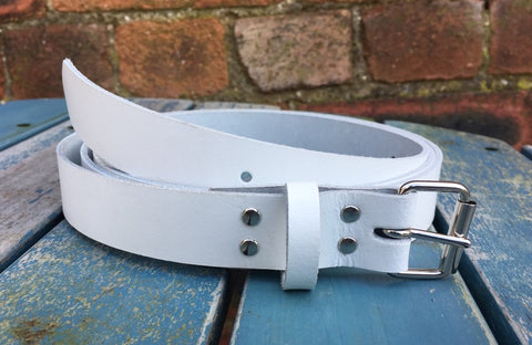 "White Leather Belt. Available 3/4"" - 2"" wide and with a choice of buckles."
