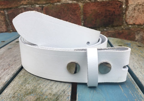 "White Leather Press Stud Snap Belt 3/4 - 2"" Wide. Available with a choice of studs & loop."