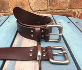 "Leather Belt with Pewter 'Wolf' buckle 1 1/2"" Wide. Available in a choice of colours."