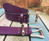 "Leather Belt with 'Boho' bead buckle 1 1/2"" Wide. Available in a choice of colours."
