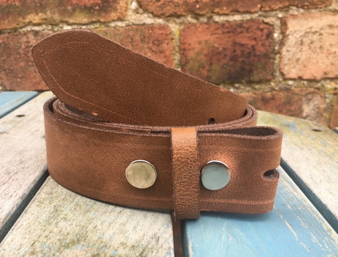 "Milwaukee Chestnut Leather Press Stud Snap Belt 3/4 - 2"" Wide. Available with a choice of studs & loop."
