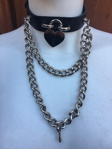 Leather Heart Padlock & Chain Choker. Choice of Colours, Handmade