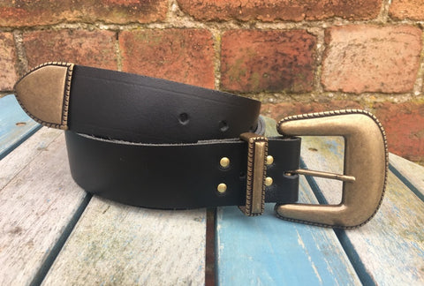 "Leather Belt with 'Lariat' buckle set 1 1/2"" Wide. Available in a choice of colours."