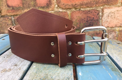 "Mid Brown Leather Double Prong Belt. 2"" Wide."