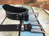 "Leather Belt with 'Milan' buckle 1 1/8"" Wide. Available in a choice of colours."