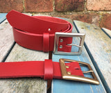 "Leather Belt with 'Owen' buckle 1 1/8"" Wide. Available in a choice of colours."