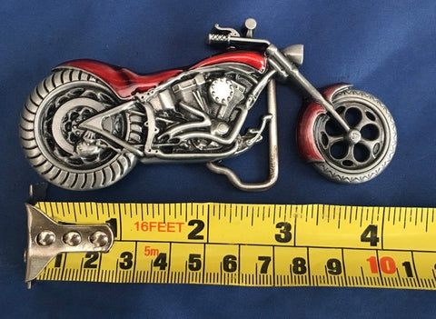 Motorbike & Red Detail - Metal Belt Buckle
