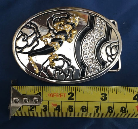 Gold Lizard & Diamante - Metal Belt Buckle